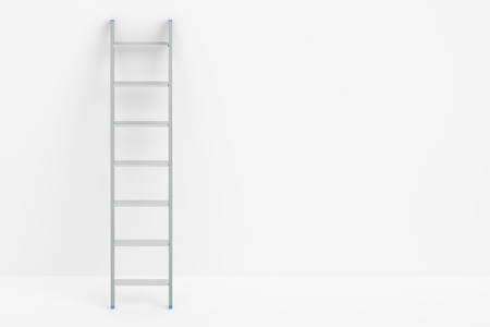 reachability: ladder and white wall, 3D rendering isolated on white background Stock Photo