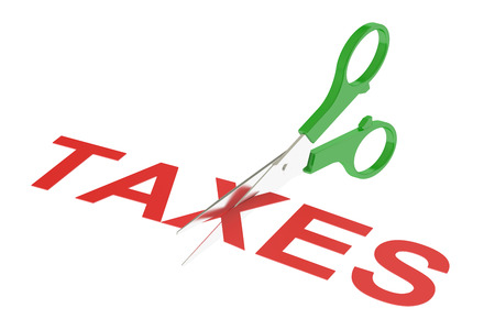 tax policy: taxes concept, cutting taxes. 3D rendering isolated on white background Stock Photo
