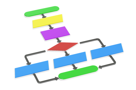 algorithm: Algorithm, flowchart. 3D rendering isolated on white background Stock Photo