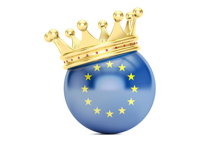 kingly: Crown with flag of EU, 3D rendering isolated on white background Stock Photo