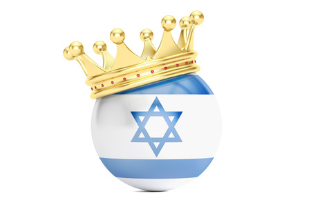 kingly: Crown with flag of Israel, 3D rendering isolated on white background Stock Photo