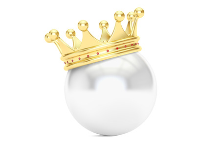 kingly: Crown with white ball, 3D rendering isolated on white background Stock Photo
