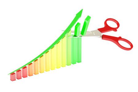 perdidas y ganancias: Tijeras y gráfico, representación 3D aisladas sobre fondo blanco