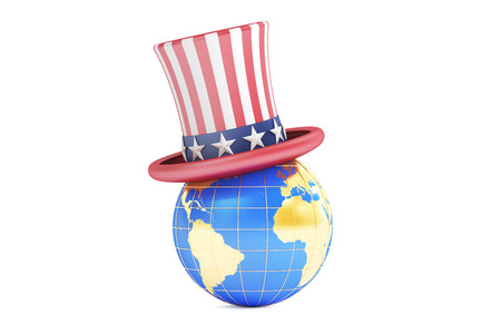 uncle sam hat: Uncle Sam hat and world, 3D rendering