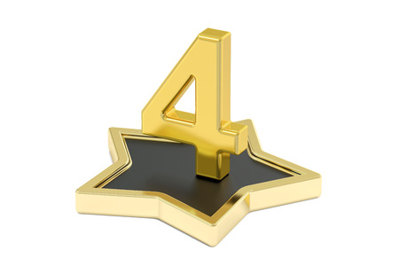number 4: 3D golden number 4 on star podium, 3D rendering isolated on white background
