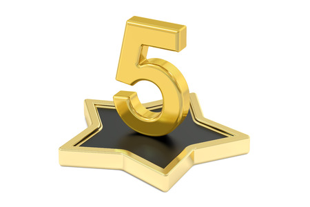 gold metal: 3D golden number 5 on star podium, 3D rendering isolated on white background Stock Photo