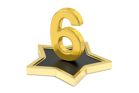six objects: 3D golden number 6 on star podium, 3D rendering isolated on white background Stock Photo