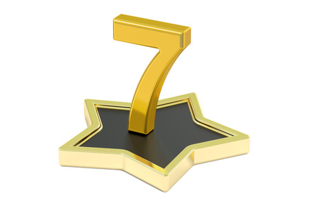 3D golden number 7 on star podium, 3D rendering isolated on white background