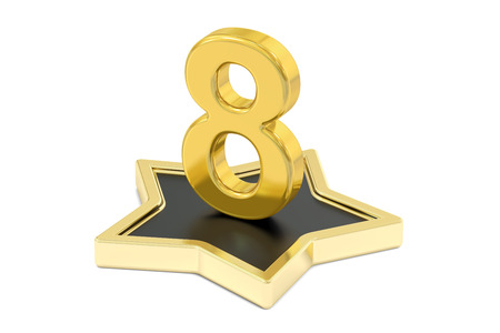 number 8: 3D golden number 8 on star podium, 3D rendering isolated on white background Stock Photo