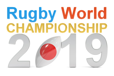 rugger: Rugby World Championship 2019 Japan concept, 3D rendering isolated on white background