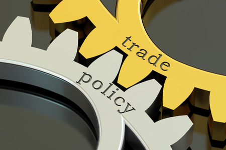 import trade: trade policy concept on the gearwheels, 3D rendering