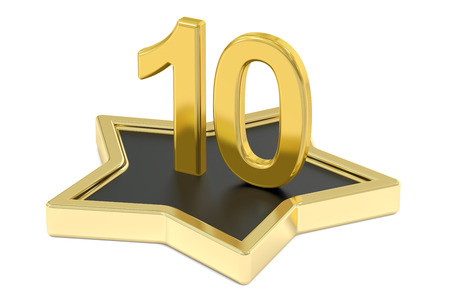 3D golden number 10 on star podium, 3D rendering isolated on white background