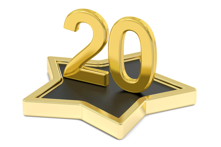 favorite number: golden number 20 on star podium, award concept. 3D rendering  isolated on white background Stock Photo