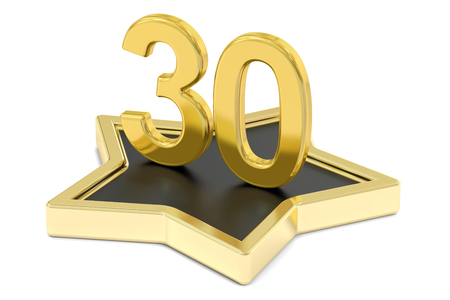 favorite number: golden number 30 on star podium, award concept. 3D rendering  isolated on white background Stock Photo