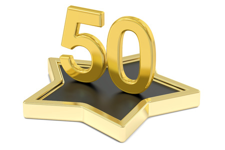 50 number: golden number 50 on star podium, award concept. 3D rendering  isolated on white background Stock Photo