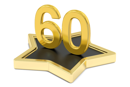 golden number 60 on star podium, award concept. 3D rendering  isolated on white background