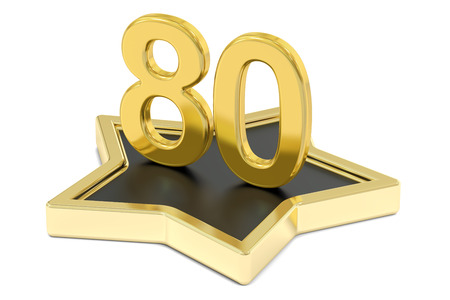 golden number 80 on star podium, award concept. 3D rendering  isolated on white background Stock Photo