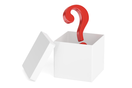 Open box with question, 3D rendering isolated on white background