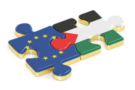 EU and Palestine puzzles from flags, 3D rendering Stock Photo