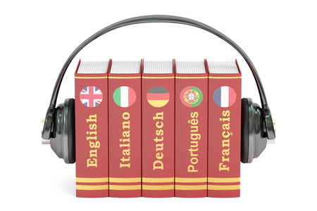 Headphones and books, languages learning and translate concept. 3D rendering