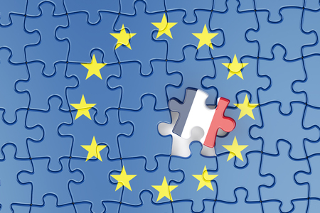relation: France and EU puzzles from flags, relation concept. 3d rendering