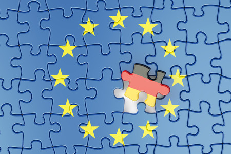 relation: Germany and EU puzzles from flags, relation concept. 3d rendering
