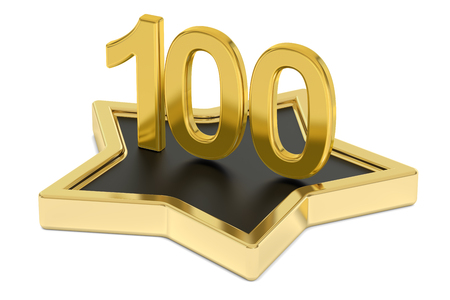 favorite number: golden number 100 on star podium, award concept. 3D rendering  isolated on white background