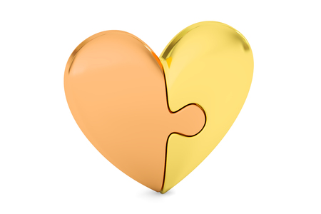 heart puzzle: Golden Puzzle Heart, love concept. 3D rendering isolated on white background