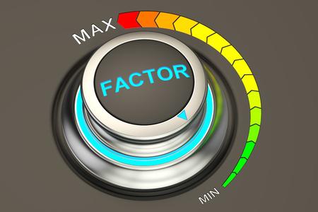 factor: min level of factor concept, 3D rendering Stock Photo