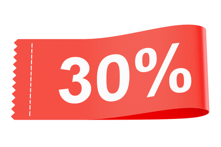 clothing tag: 30% discount clothing tag, 3D rendering