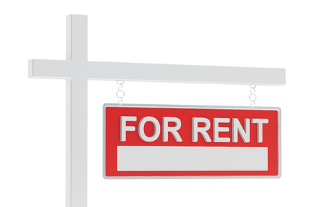 for: For Rent Sign, 3D rendering isolated on white background Stock Photo
