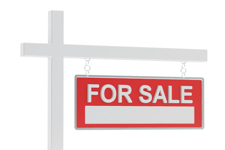 homes for sale: For Sale Real Estate Sign, 3D rendering isolated on white background Stock Photo