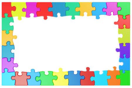 Rahmen aus farbigen Puzzleteile, 3D-Rendering Standard-Bild