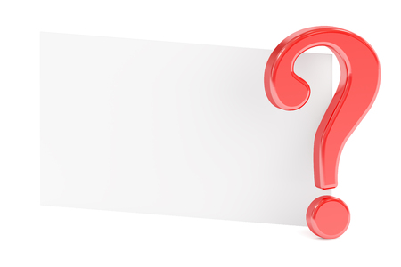 question mark with blank card, 3D rendering isolated on white background