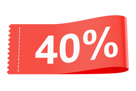 clothing tag: 40% discount clothing tag, 3D rendering Stock Photo