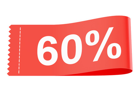 60% discount red clothing label, 3D rendering
