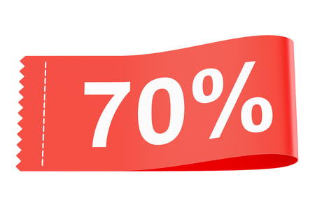clothing tag: 70% discount clothing tag, 3D rendering