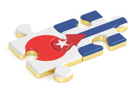 Rompecabezas de banderas de Japón y Cuba, representación 3D