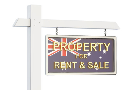 homes for sale: Property for sale and rent in Australia concept. Real Estate Sign, 3D rendering isolated on white background Stock Photo