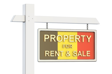 property for sale: Property for sale and rent in Belgium concept. Real Estate Sign, 3D rendering isolated on white background Stock Photo