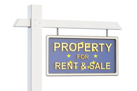 property for sale: Property for sale and rent in EU concept. Real Estate Sign, 3D rendering isolated on white background