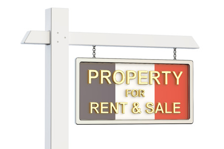 property for sale: Property for sale and rent in France concept. Real Estate Sign, 3D rendering isolated on white background