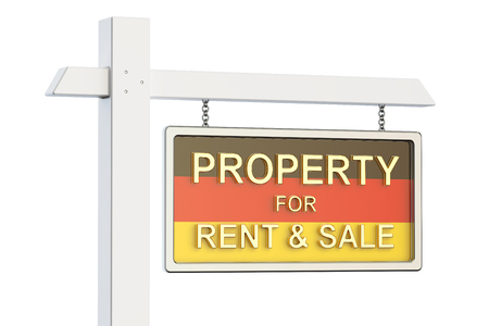 property for sale: Property for sale and rent in Germany concept. Real Estate Sign, 3D rendering isolated on white background