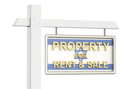 property for sale: Property for sale and rent in Israel concept. Real Estate Sign, 3D rendering