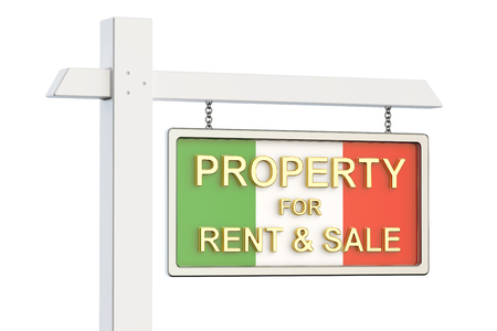 property for sale: Property for sale and rent in Italy concept. Real Estate Sign, 3D rendering isolated on white background Stock Photo