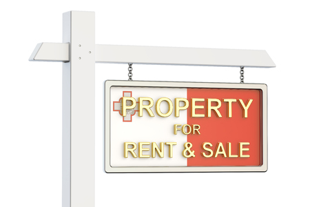 property for sale: Property for sale and rent in Malta concept. Real Estate Sign, 3D rendering isolated on white background Stock Photo