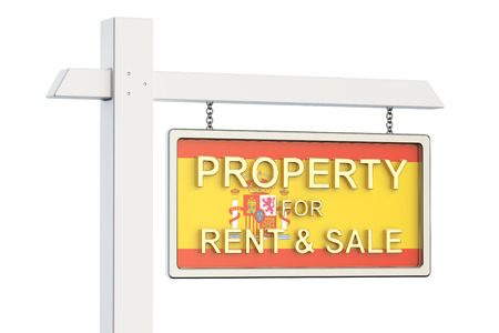homes for sale: Property for sale and rent in Spain concept. Real Estate Sign, 3D rendering isolated on white background Stock Photo