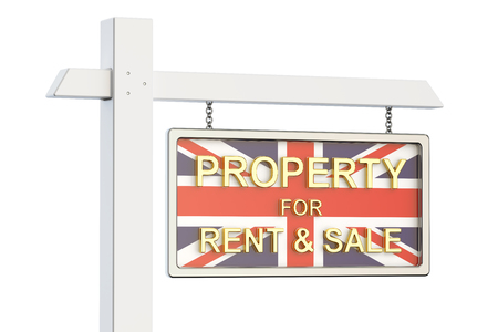 property for sale: Property for sale and rent in Great Britain concept. Real Estate Sign, 3D rendering isolated on white background