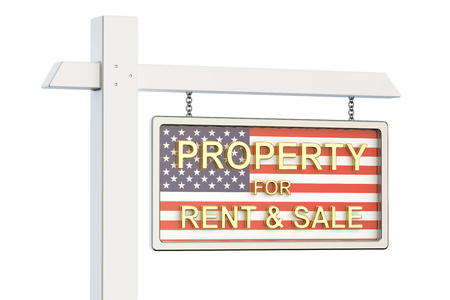 Property for sale and rent in US concept. Real Estate Sign, 3D rendering isolated on white background