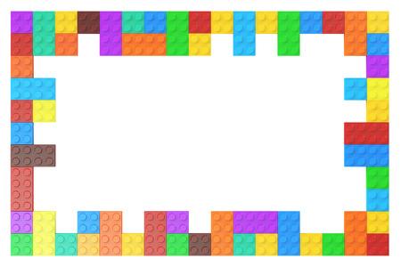 Rahmen aus farbigem Kunststoff-Bausteine, 3D-Rendering
